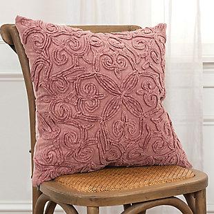 Rizzy Home Emroidered Fleur De Lis Throw Pillow, Terra Cotta, rollover