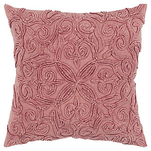 Rizzy Home Emroidered Fleur De Lis Throw Pillow, Terra Cotta, large