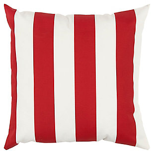 Rizzy Home Stripe Indoor/ Outdoor Throw Pillow, Red, rollover