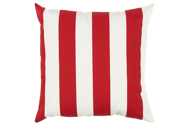 Rizzy Home Stripe Indoor/ Outdoor Throw Pillow, Red, large