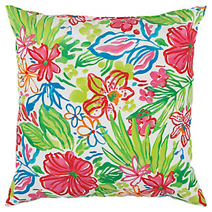 Rizzy Home Tropical Watercolor Indoor/ Outdoor Throw Pillow, , large