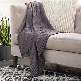 Surya Thea Throw, Charcoal, rollover