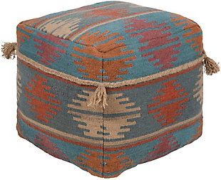 Surya Adia Pouf, Teal, rollover