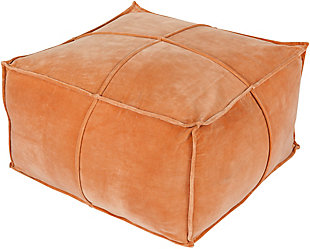Surya Cotton Velvet Pouf, Burnt Orange, rollover