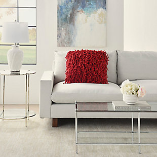 Nourison Shag Red Skinny Fugga Throw Pillow, Red, rollover