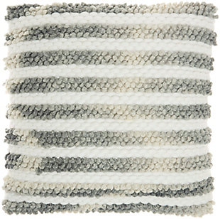 Nourison Life Styles Modern Ombre Woven Stripes Throw Pillow, Charcoal, large