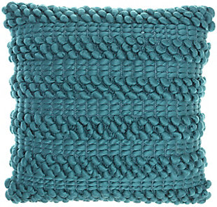 Nourison Life Styles Textured Throw Pillow, Teal, large