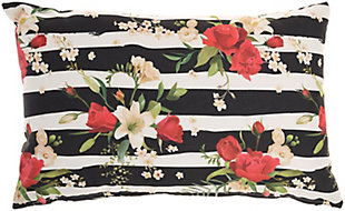 Nourison Outdoor Striped Floral Throw Pillow, , large