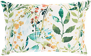 Nourison Outdoor Watercolor Leaves Throw Pillow, , large