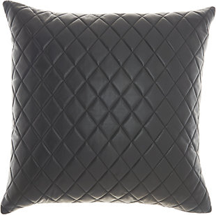 Nourison Couture Nat Hide Quilted Leather Decorative Throw Pillow, , rollover