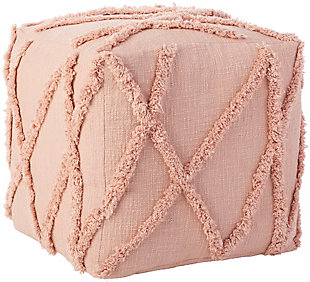 Nourison Life Styles Textured Diamond Pouf, Blush, large