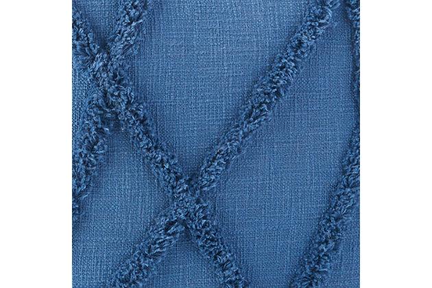 Nourison Life Styles Textured Diamond Pouf, Blue, large