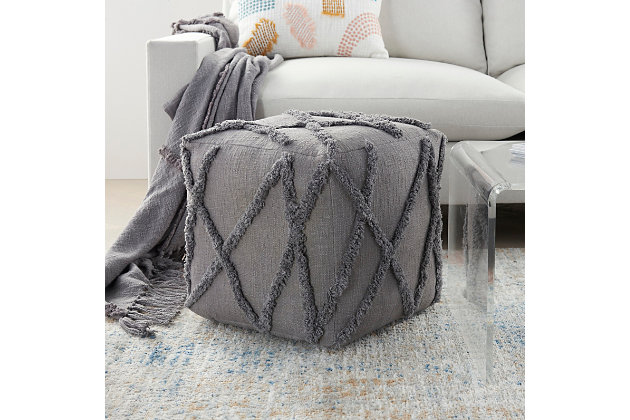 Nourison Life Styles Textured Diamond Pouf, Gray, large
