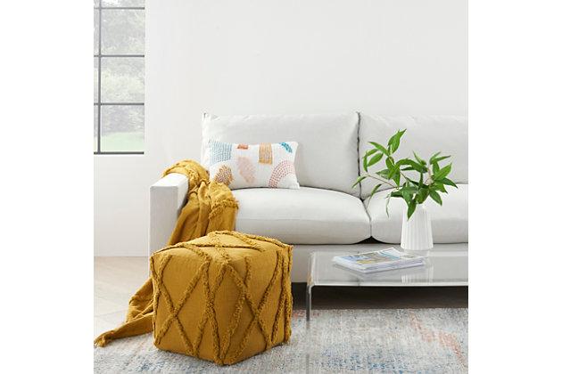 Nourison Life Styles Textured Diamond Pouf, Mustard, large