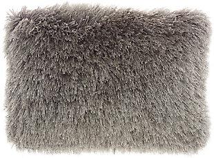 Nourison Lush Yarn Shag Throw Pillow, Charcoal, large