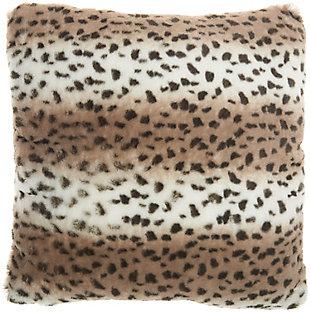 Nourison Deer Faux Fur Throw Pillow, Beige, large