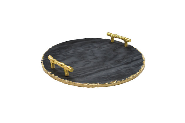 American Atelier Marble Black/Gold Tray With Handles, Black/Gold, large