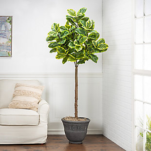 6-Foot Tall Real Touch Ultra-Realistic Varrigated Ficus Plant in Plastic Pot with Faux Dirt, , rollover