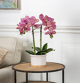 18-Inch Tall Real Touch Ultra-Realistic Pink Phalaenopsis Arrangement in Pot, , rollover