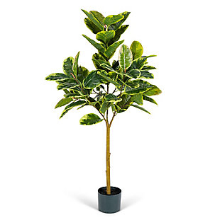 4-Foot Tall Real Touch Ultra-Realistic Varrigated Rubber Plant in Plastic Pot with Faux Dirt, , large