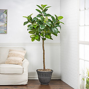 6-Foot Tall Real Touch Ultra-Realistic Rubber Plant in Plastic Pot with Faux Dirt, , rollover