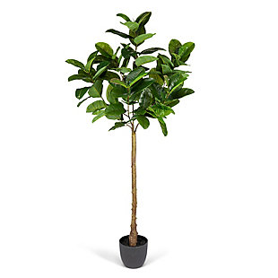 6-Foot Tall Real Touch Ultra-Realistic Rubber Plant in Plastic Pot with Faux Dirt, , large