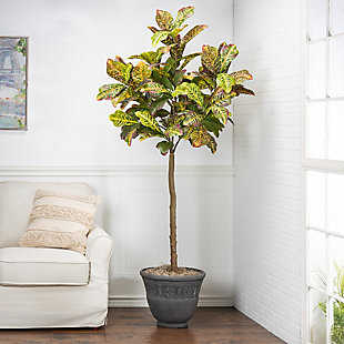 6-Foot Tall Real Touch Ultra-Realistic Croton Leaf Plant in Plastic Pot with Faux Dirt, , rollover
