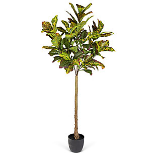 6-Foot Tall Real Touch Ultra-Realistic Croton Leaf Plant in Plastic Pot with Faux Dirt, , large