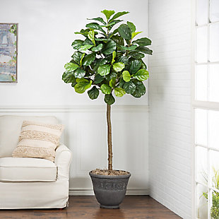6-Foot Tall Real Touch Ultra-Realistic Fiddle Leaf Fig Plant in Plastic Pot with Faux Dirt, , rollover