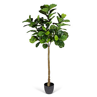 6-Foot Tall Real Touch Ultra-Realistic Fiddle Leaf Fig Plant in Plastic Pot with Faux Dirt, , large
