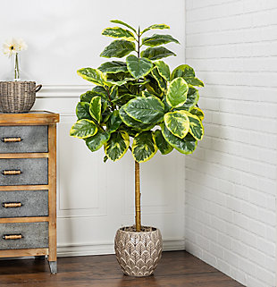 4-Foot Tall Real Touch Ultra-Realistic Varrigated Ficus Altissima Plant in Plastic Pot with Faux Dirt, , rollover