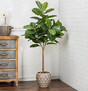 4-Foot Tall Real Touch Ultra-Realistic Rubber Plant in Plastic Pot with Faux Dirt, , rollover