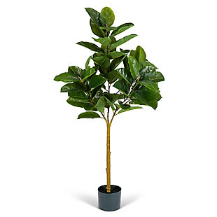 4-Foot Tall Real Touch Ultra-Realistic Rubber Plant in Plastic Pot with Faux Dirt, , large
