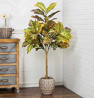 4-Foot Tall Real Touch Ultra-Realistic Croton Leaf Plant in Plastic Pot with Faux Dirt, , rollover
