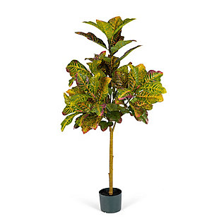 4-Foot Tall Real Touch Ultra-Realistic Croton Leaf Plant in Plastic Pot with Faux Dirt, , large