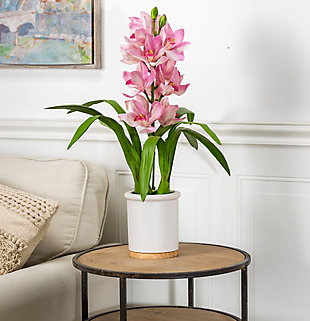 26-Inch Tall Real Touch Ultra-Realistic Pink Cymbidium Orchid Arrangement in Pot, , rollover