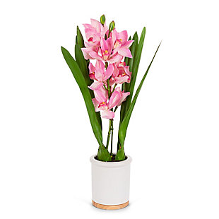 26-Inch Tall Real Touch Ultra-Realistic Pink Cymbidium Orchid Arrangement in Pot, , large