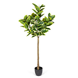 6-Foot Tall Real Touch Ultra-Realistic Varrigated Rubber Plant in Plastic Pot with Faux Dirt, , large