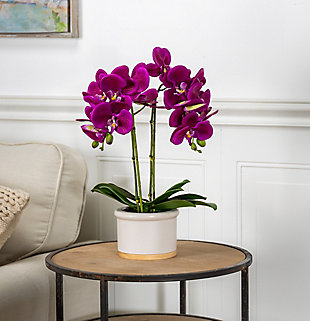 18-Inch Tall Real Touch Ultra-Realistic 2-Stem Purple Phalaenopsis Arrangement in Pot, , rollover