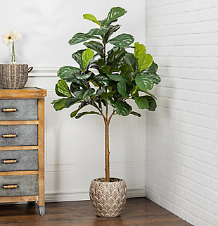 4-Foot Tall Real Touch Ultra-Realistic Fiddle Leaf Fig Plant in Plastic Pot with Faux Dirt, , rollover