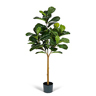 4-Foot Tall Real Touch Ultra-Realistic Fiddle Leaf Fig Plant in Plastic Pot with Faux Dirt, , large