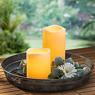 """4.5""""D Ivory Flameless LED Candle with Timer Feature (Set of 2), , rollover"""