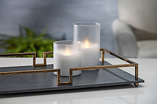 """5""""D x 8""""H Wax Candle in Frosted Glass with Exclusive Illumaflame™ Glow, , rollover"""