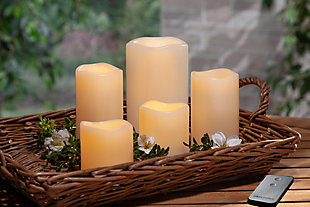 Set of 5 Indoor/Outdoor LED Candles, , rollover
