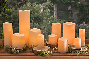 18-Inch Tall Weather Resistant Resin Candle with Soft Glow Flicker LED and Timer Feature, , rollover