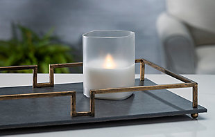 """4""""Lx4""""Wx5""""H Wax Candle in Frosted Glass with Exclusive Illumaflame™ Glow, , rollover"""