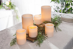 Wax Straight Edge 1000-Hour Candles with Soft Glow Flicker and Full Body Glow™ (Set of 6), , rollover