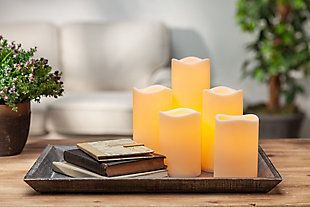 Battery-Operated LED Resin Candles (Set of 5), , rollover