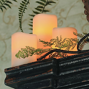 Flameless LED Wavy Candles in Assorted Sizes with Multi-Function Remote (Set of 3), , rollover