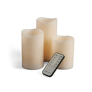 Flameless LED Wavy Candles in Assorted Sizes with Multi-Function Remote (Set of 3), , large